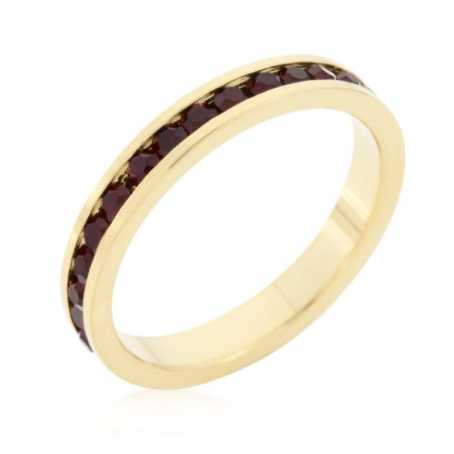 Stylish Stackables with GARNET in Gold Crystal Ring (Size: 06)