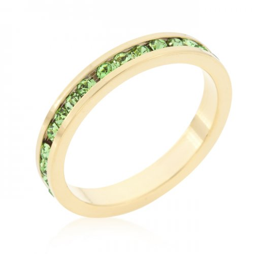 Stylish Stackables PERIDOT Crystal Gold Ring (Size: 06)