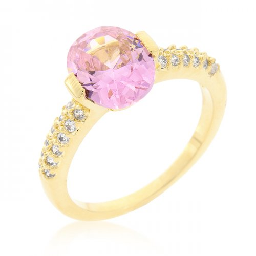 Pink Oval CUBIC ZIRCONIA Engagement Ring (Size: 06)