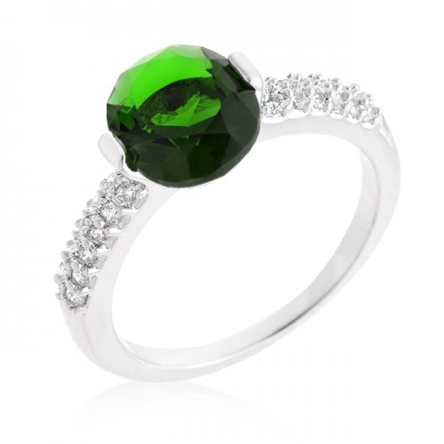 Green Oval CUBIC ZIRCONIA Engagement Ring (Size: 10)