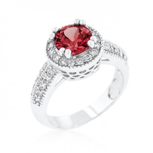 GARNET Halo Engagement Ring (Size: 09)