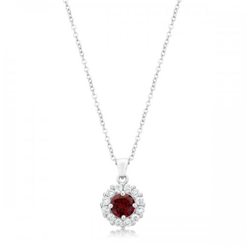Bella Bridal Pendant in GARNET Red