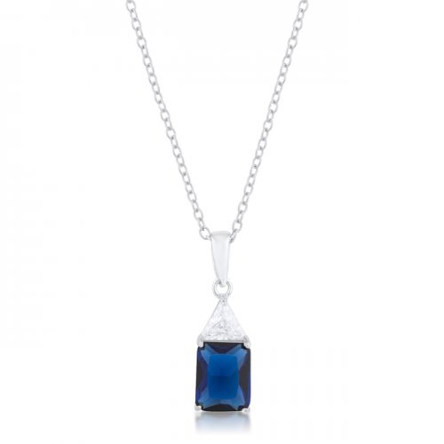 Classic Sapphire Cubic Zirconia STERLING SILVER Drop Necklace