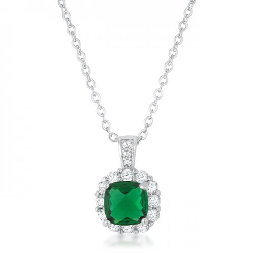 Liz 2 6ct Emerald Cz Rhodium Classic Necklace