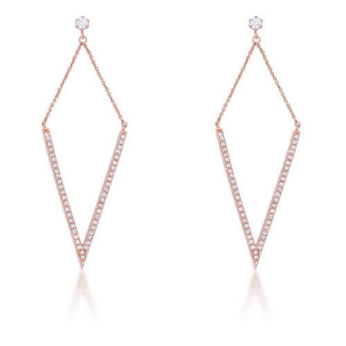 Michelle 1 2ct Cz Rose Gold Delicate Pointed Drop Earrings