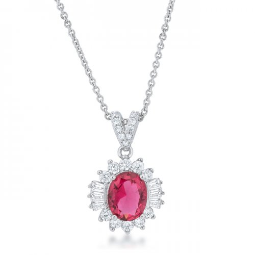 Chrisalee 3 2ct Ruby Cz Rhodium Classic Drop Necklace