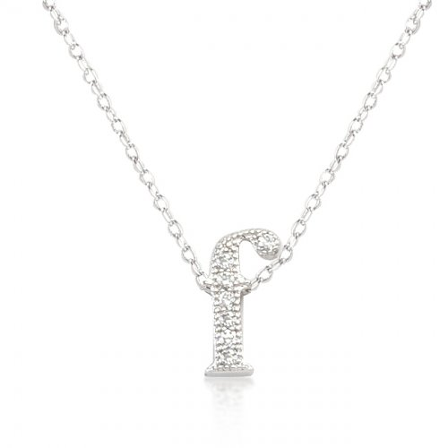 Micro pave Initial F Pendant