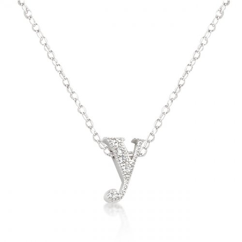 Micro pave Initial Y Pendant