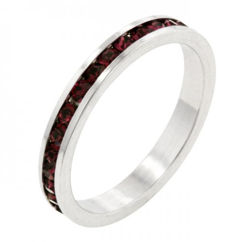 Stylish Stackables with GARNET Crystal Ring (Size: 10)