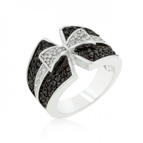 Jet Black and Clear Cubic Zirconia Bow TIE Ring (Size: 10)