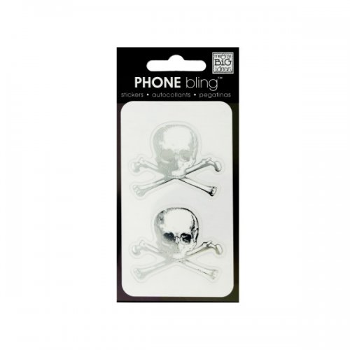 SKULL and Crossbones Phone Bling Removable Stickers