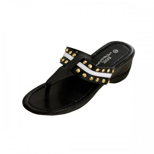 Black Wedge SANDALS with Stripe & Spike Accents