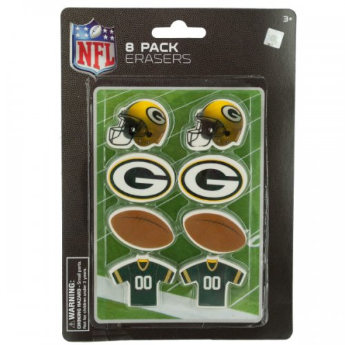 NFL Licensed Green Bay Packers Shaped Erasers Set