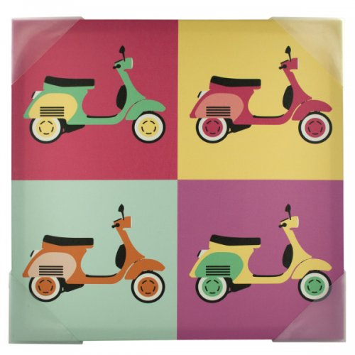 Vintage SCOOTERs Pop Art Canvas Wall Art