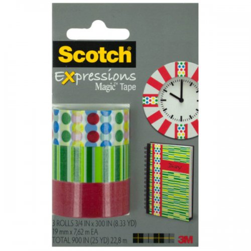 Scotch Expressions Red Dots & Green Stripes TAPE Set