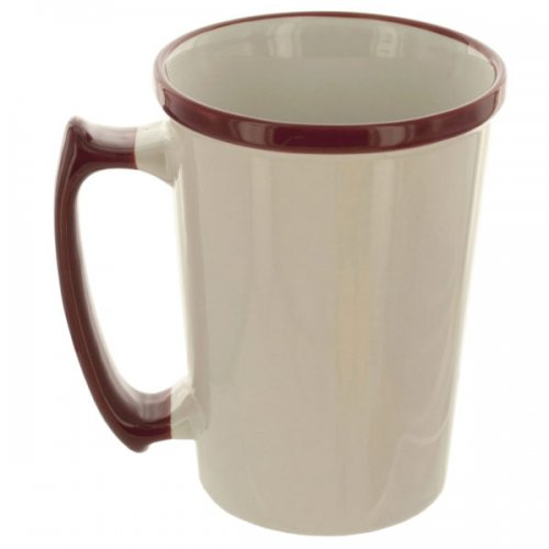 15-Ounce Tall White MUG with Maroon Rim & Handle