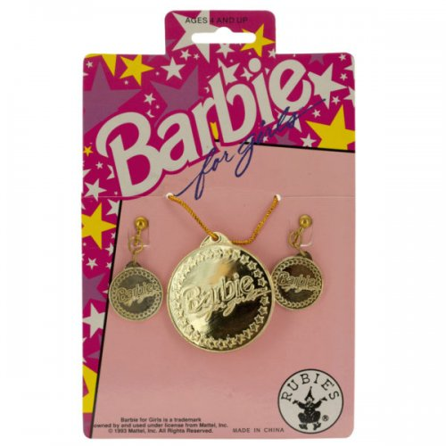 BARBIE for Girls Gold Earrings & Necklace Set