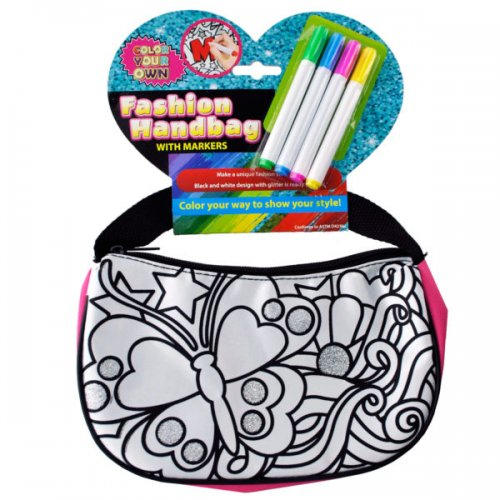 Color Your Own Glitter Fashion HANDBAG with Markers