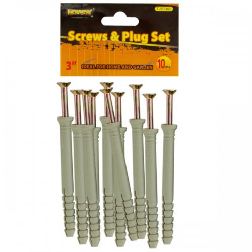 """3"""" SCREWS with Ribbed Plastic Anchors Set"""
