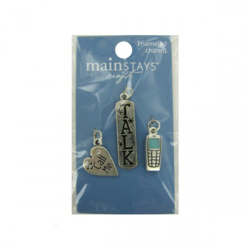 blue CELL PHONE collection enameled charms